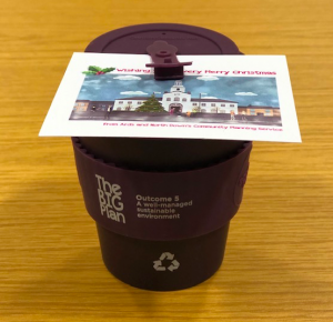 Re-usable Printed Bamboo Cup Arts and North Devon Council