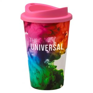 Printed Re-useable Coffee Cup with Pink Lid